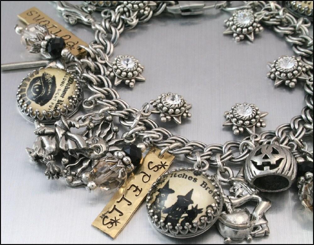 Halloween Jewelry, Silver Charm Bracelet, Moonbeams Magic Shoppe Charm Bracelet, Wiccan Charm Bracelet