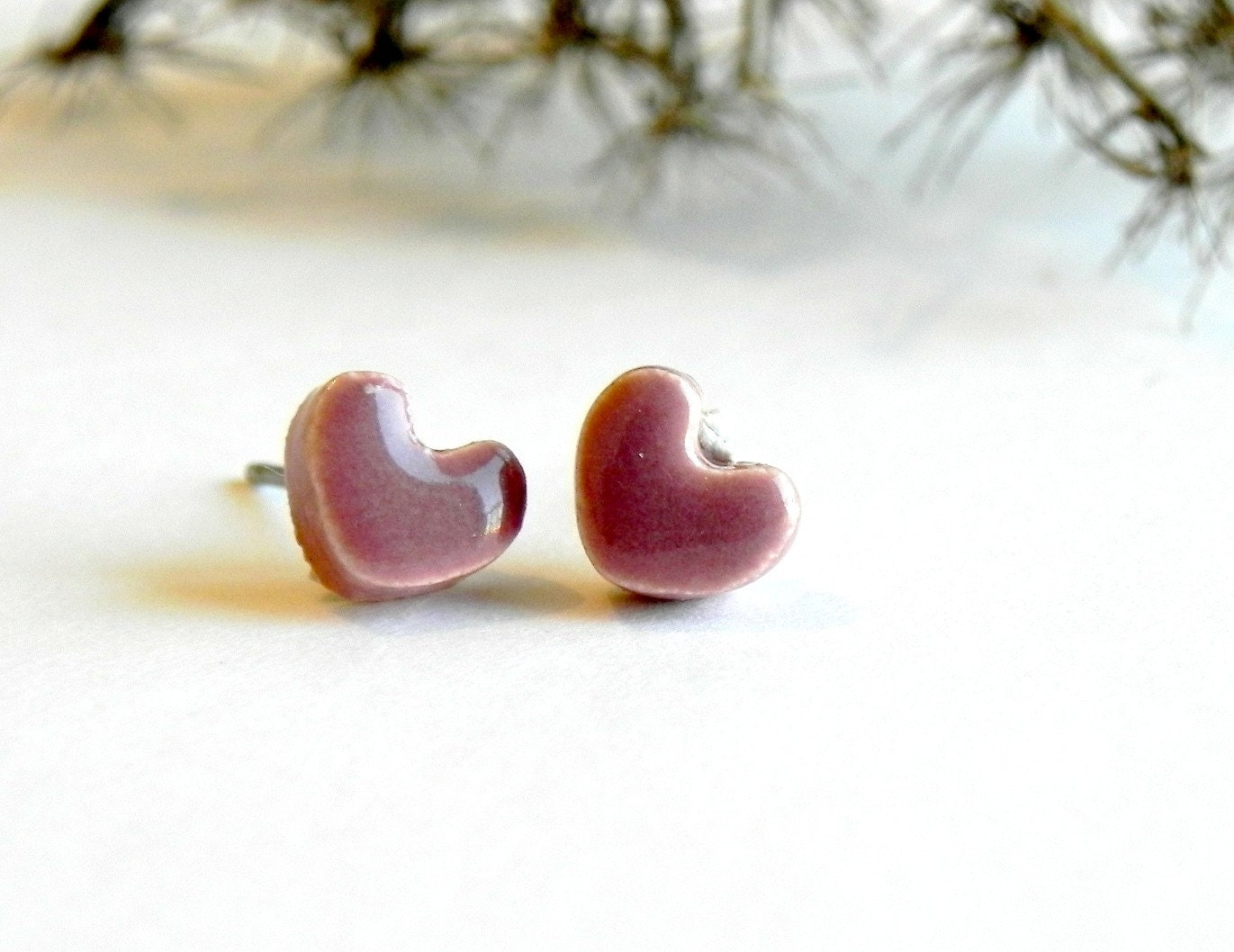 Ceramic Tiny Heart Post Earrings Mauve Pink Hypoallergenic Studs - LemoneRouge