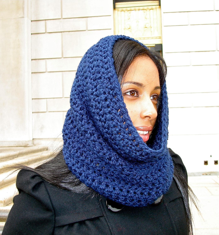 Free Crochet Pattern Hooded Neck Warmer : Crochet Neck Warmer Cowl Women Men Navy Blue by ...