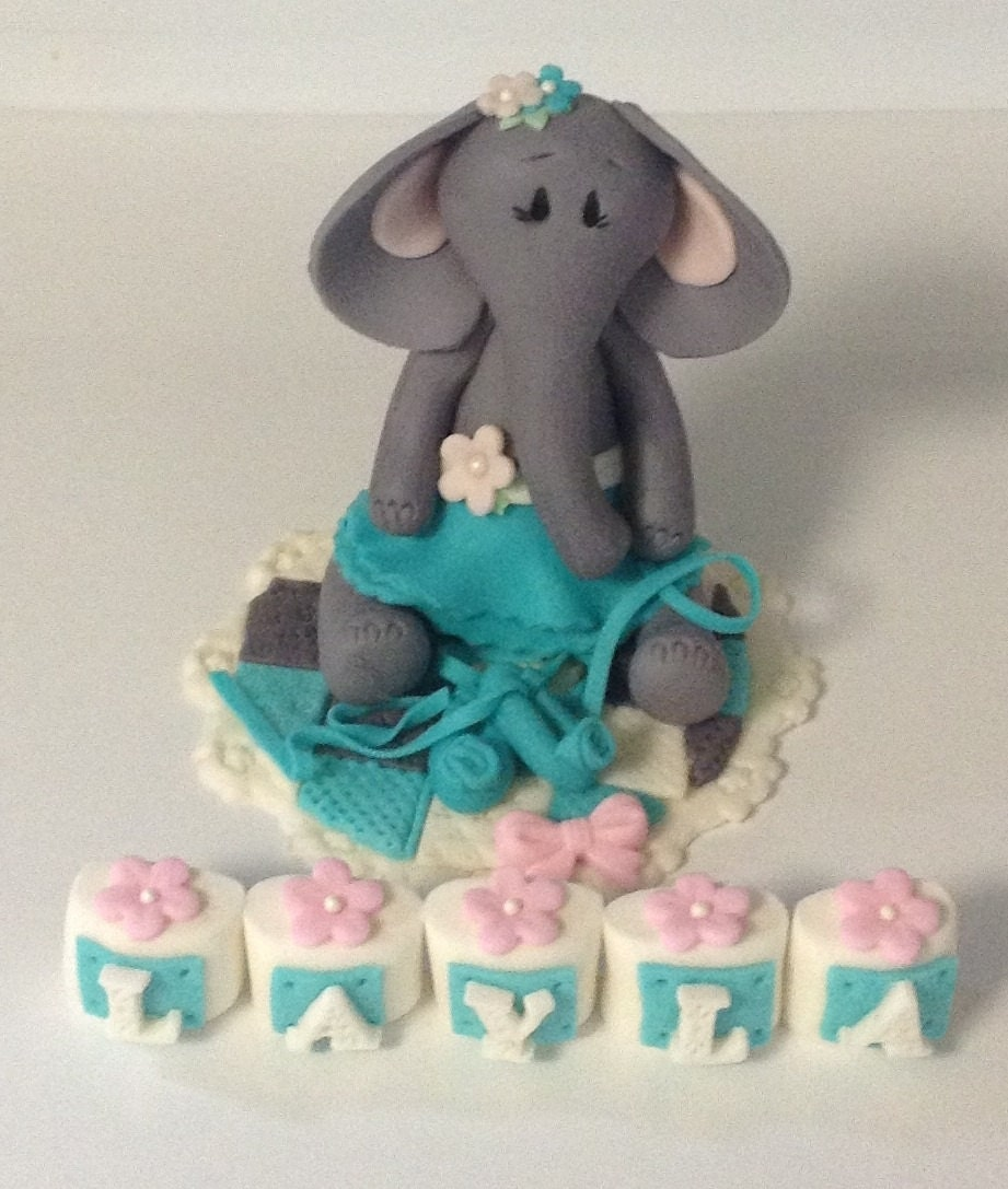 ballerina elephant cake topper first birthday by ediblesugarart