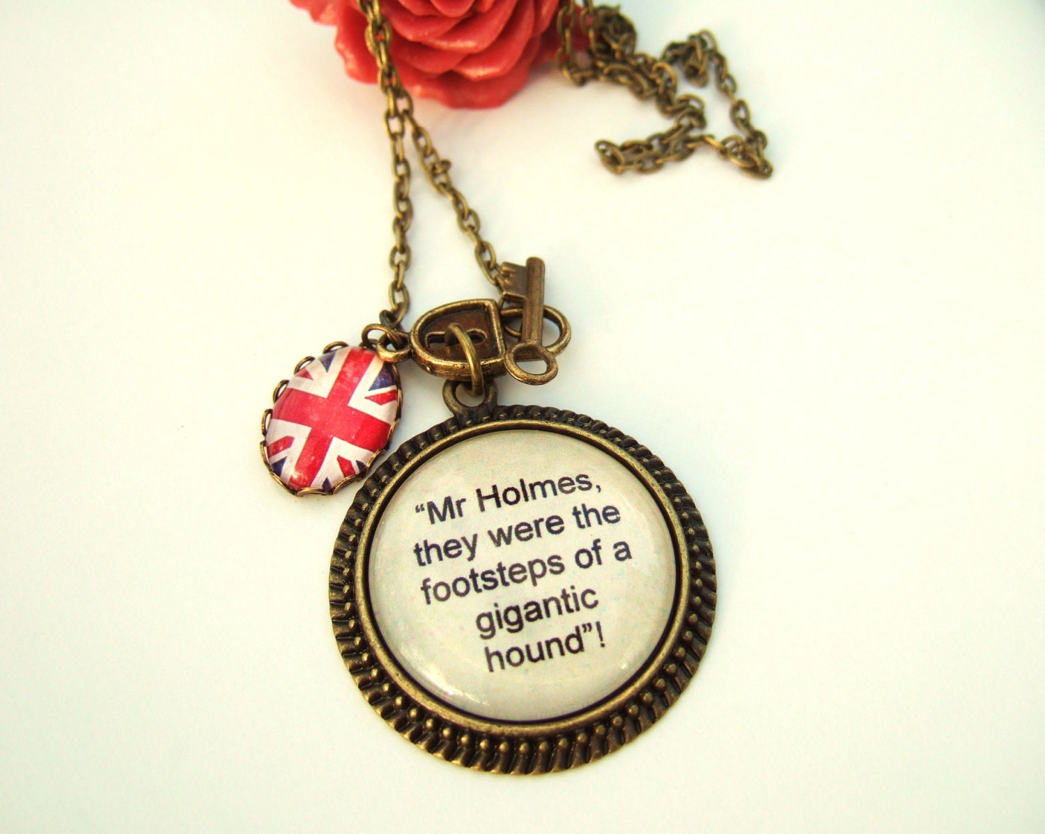 Sherlock Holmes Necklace-Sherlock Cameo-Hound of the Baskervilles Quote