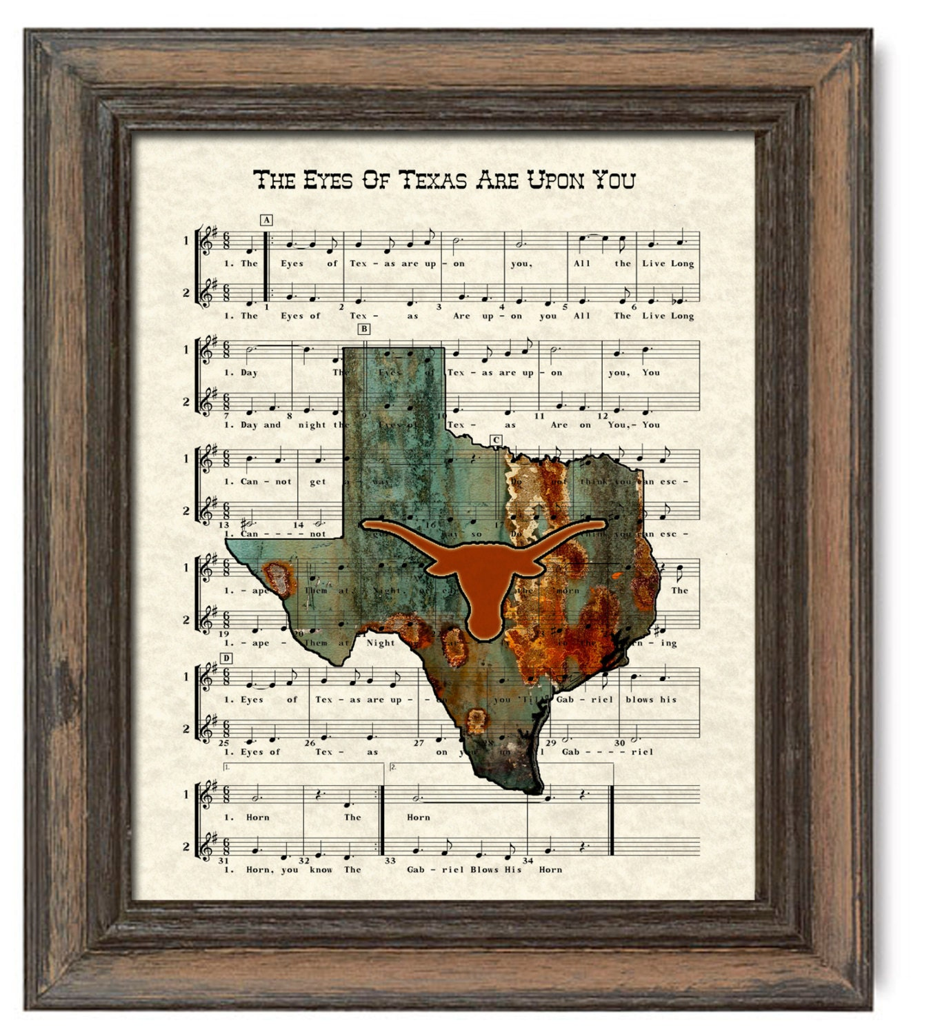 Dancing On My Own Sheet Music With Lyrics: Texas Longhorns Art Print UT Fight Song Texas By