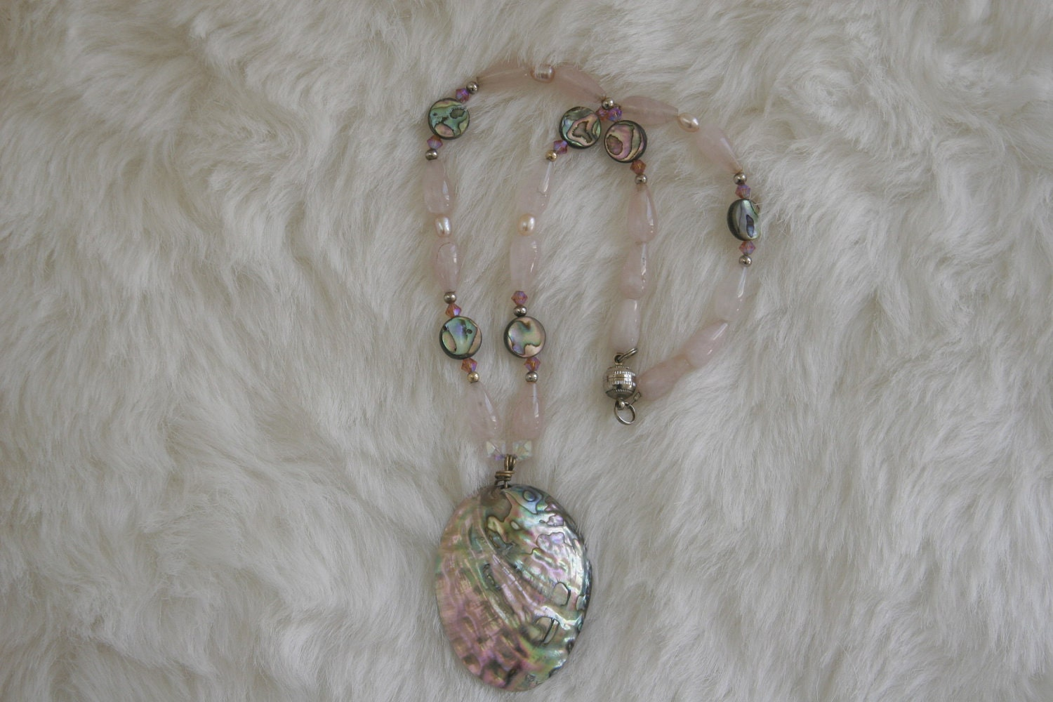 Rose Quartz Teardrops and  Abalone Pendant Necklace