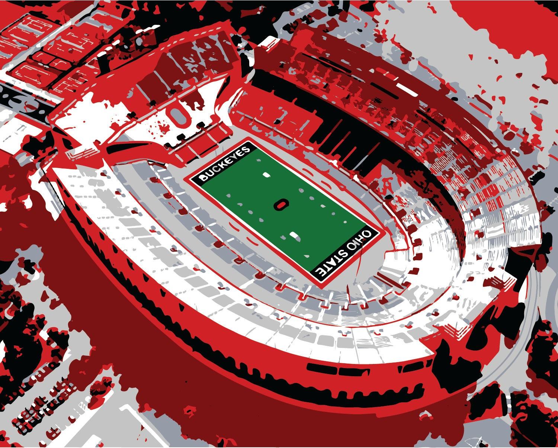 Ohio State Stadium Print Canvas Print Horseshoe Shoe By