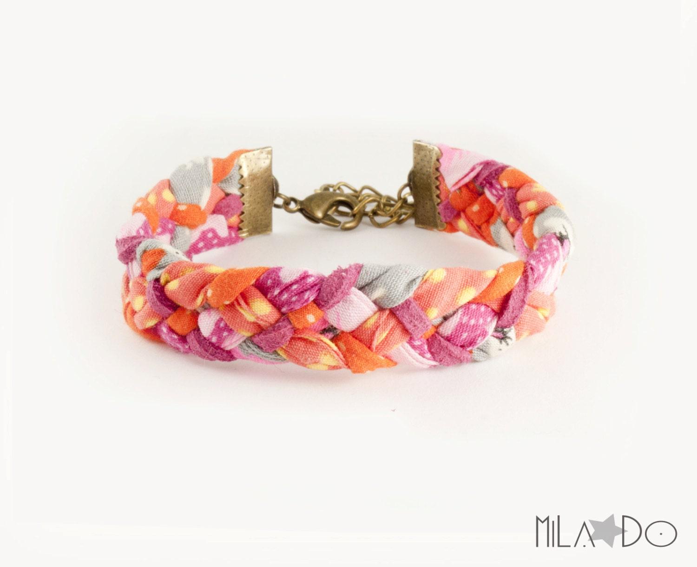 Bracelet en tissu tressé orange, gris et rose - biais liberty
