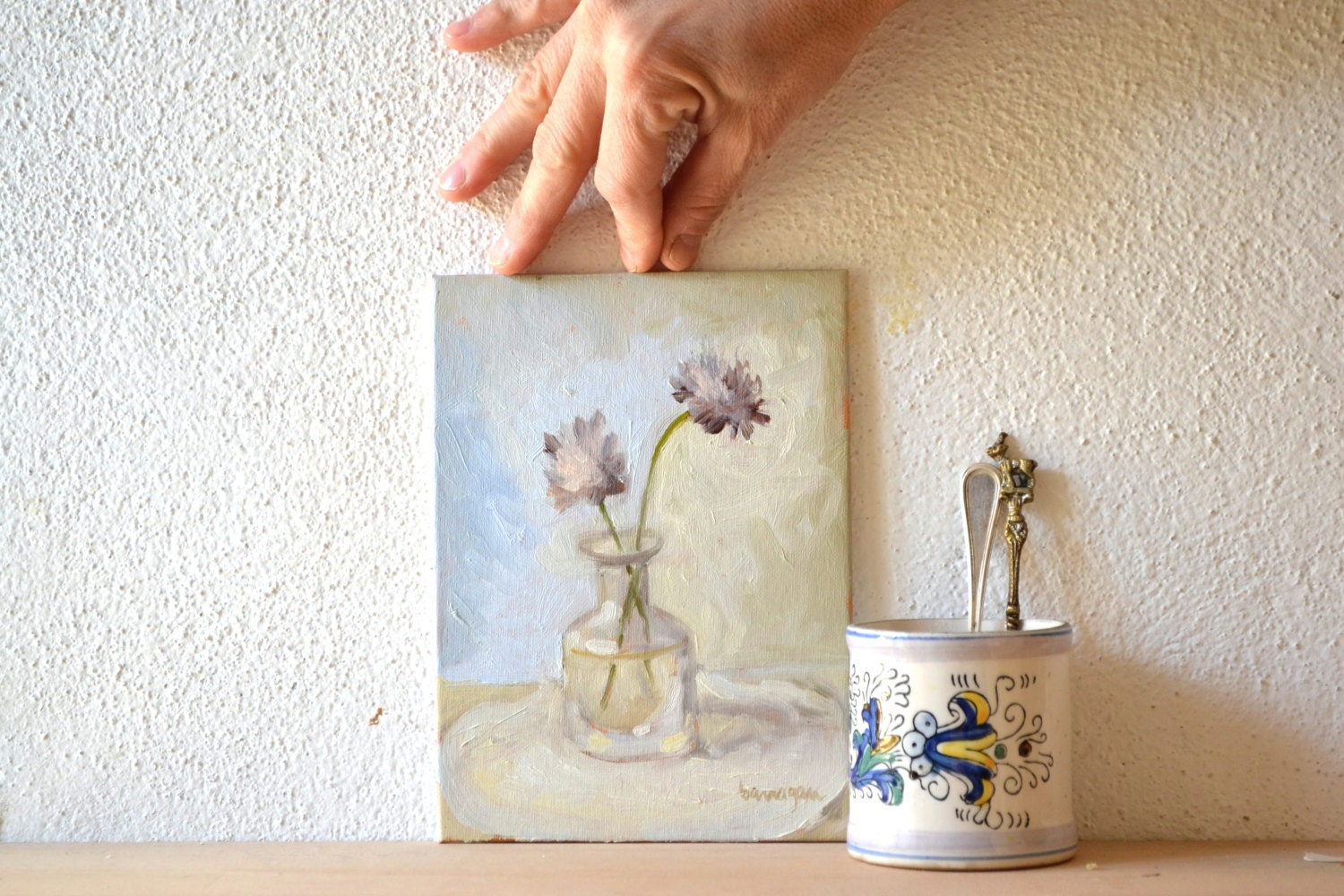 Purple Flower Still-life Oil Painting, floral painting, cottage decor, french provincial, wedding gift, country wedding gift, special dates - BarraganPaintings