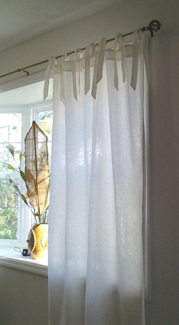Ready To Ship Pair Of Tie Top Linen Curtains By Kirtamdesigns