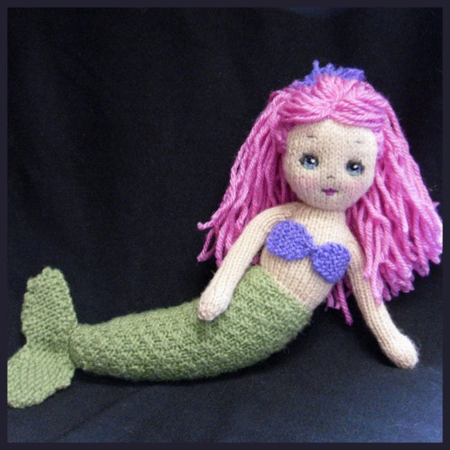 Mermaid Hand Knitted Doll With Red Hair OOAK By Maryholstad