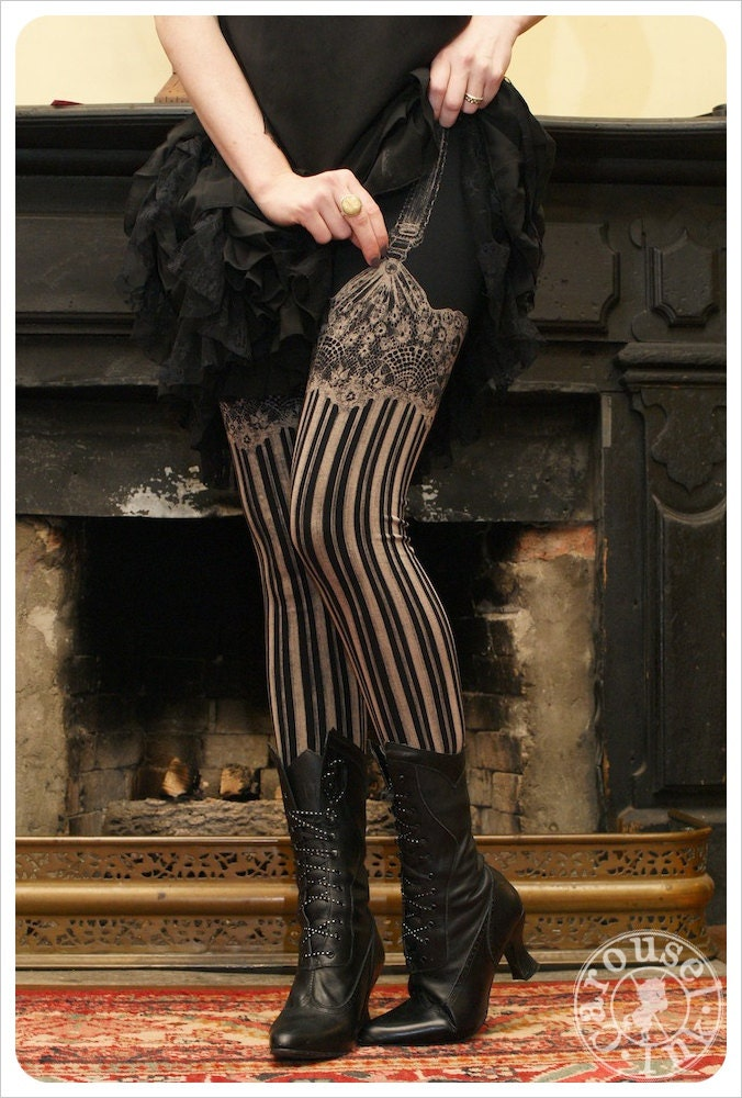 Garter Leggings - Burlesque - Womens Legging - BLACK - Garter leggings - printed Tights - SMALL - Suspender leggings