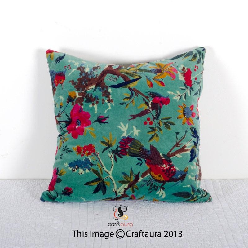 Turquoise Velvet Pillow In Bird Print Velvet by CraftAuraHome