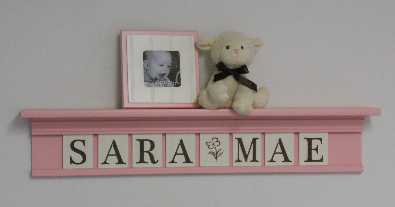 decorative nursery letter shelves baby pastel pink and. Black Bedroom Furniture Sets. Home Design Ideas
