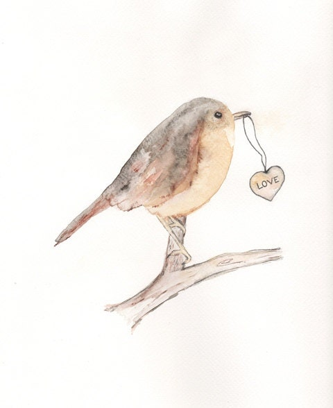 Carrier of Love  8x10 Watercolor Print /Bird Art