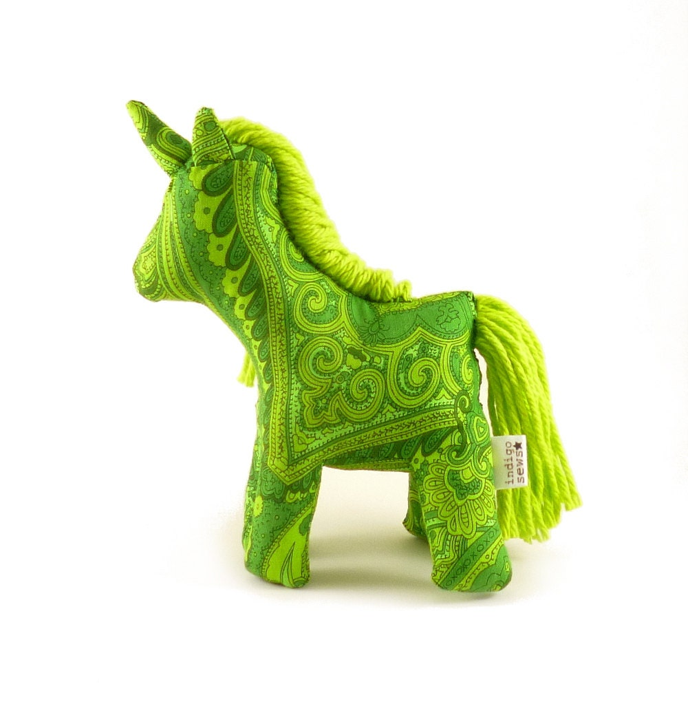 Green paisley unicorn toy, cloth unicorn, stuffed animal unicorn toy, emerald green, lime green - IndigoSews