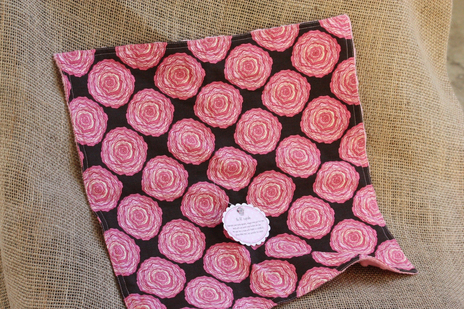 Ready to Ship... Pink and Chocolate Brown Rosettes with Light Pink Minky Dots Burpie or Small blanket