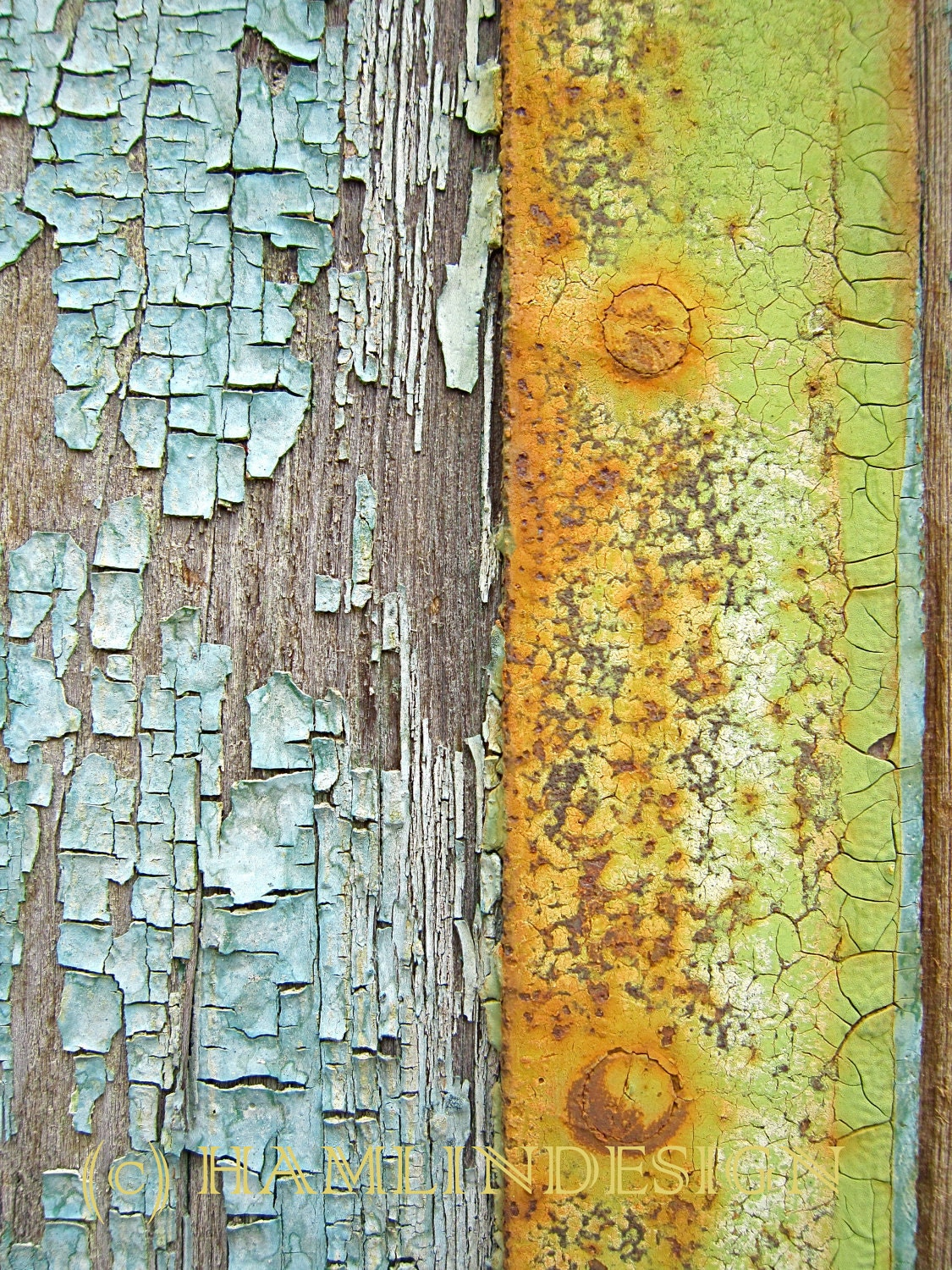 Texture Old Wood Door pastel colored cracked paint 13cm x 18cm (5in x 7in) unframed