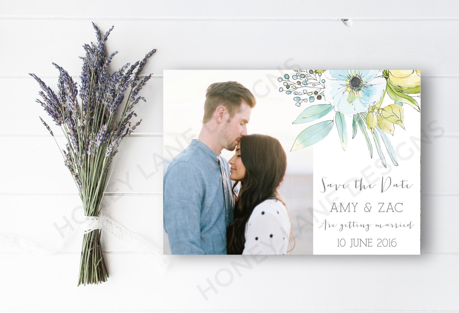 Personalised Printable SavetheDatePrintable Card  Amy Collection