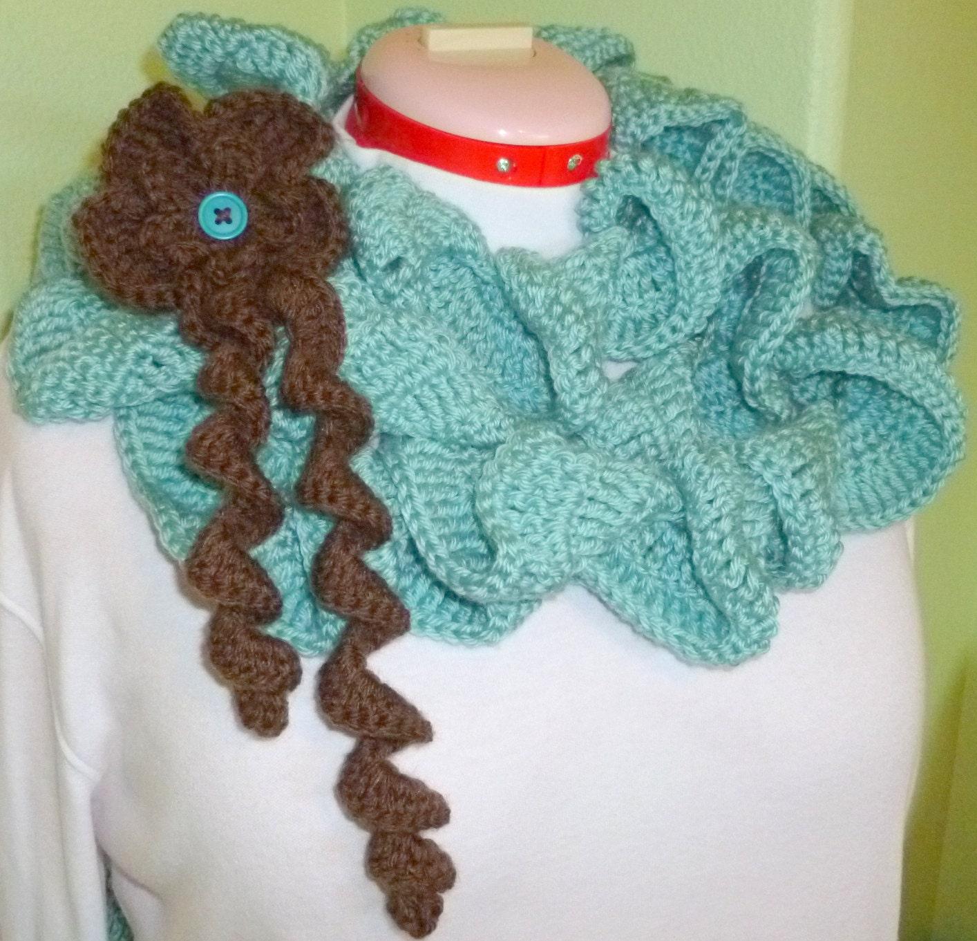 Crochet Ruffled Scarf Scarflette Fashion by berly731 on Etsy