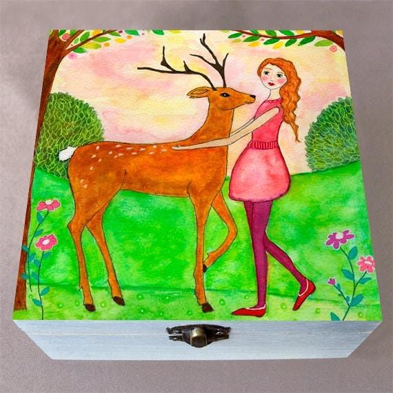 Deer Friend Large Jewelry Box Wooden Jewelry Box Trinket box
