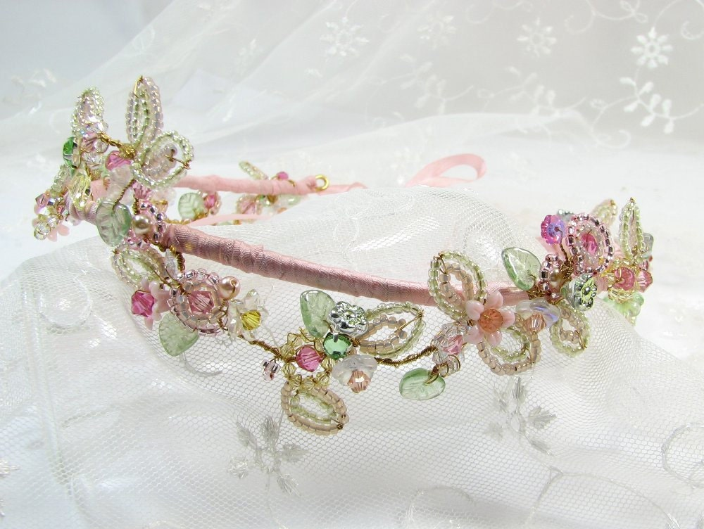 Handmade Tiara Spring Inspired Tiara in Delicate Shades Blossom  Vine Design English Made Tiara Fairy Tiara Faery Tiara Wedding Tiara