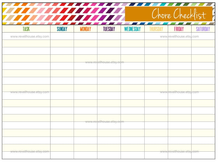 Monthly chore chart for adults