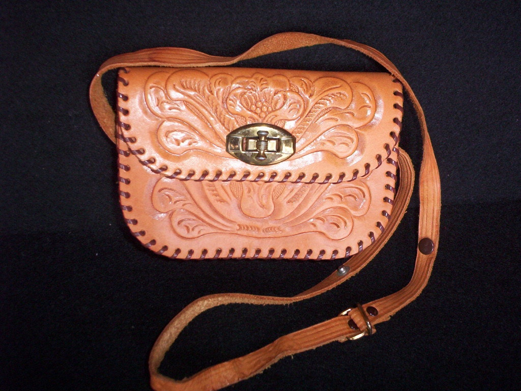 Hand Tooled Floral Design Small Purse with Adjustable Handle