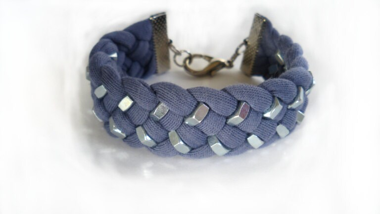 Purple Jersey Fabric Braided Bracelet with double row Silver Tone Hex Nut