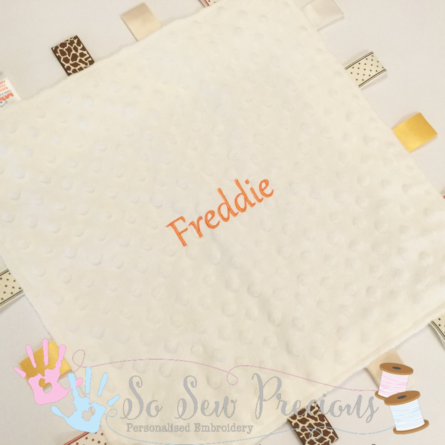 Personalised Baby Taggie Blanket Tag Comforter Embroidered Baby Gift Unisex Cream Personalized Blankie