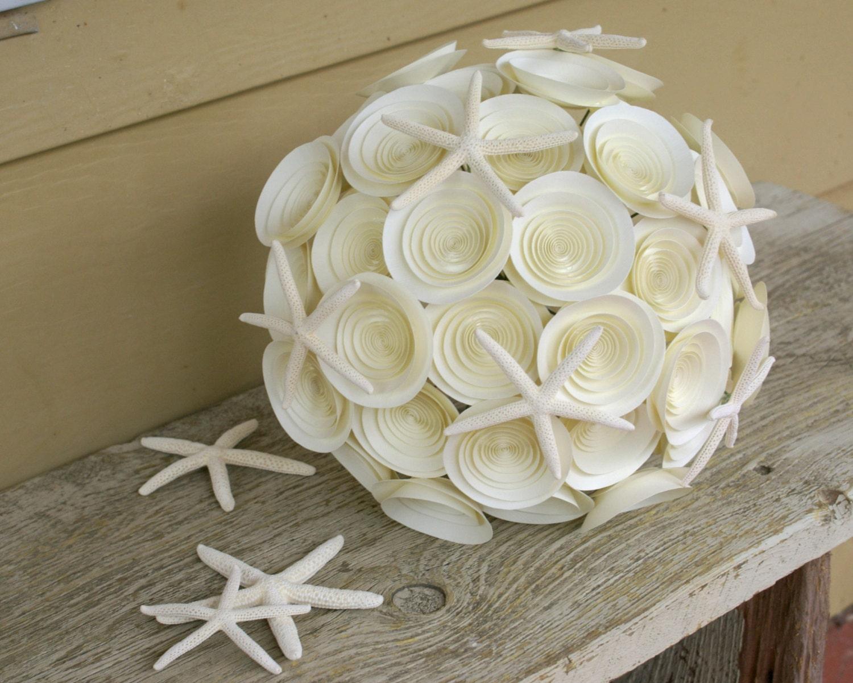 Starfish Bridal Bouquet, Ivory Paper Wedding Bouquet with Starfish Accents, Large Ivory Bridal Bouquet, Beach Bridal Bouquet