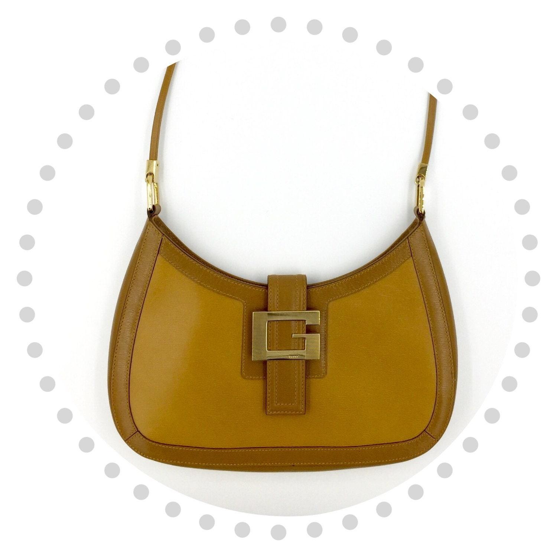 Gucci Shoulder Bag Leather Hobo Moon Handbag Authentic Vintage Tan Brown Purse Designer Tasche Early 1990s