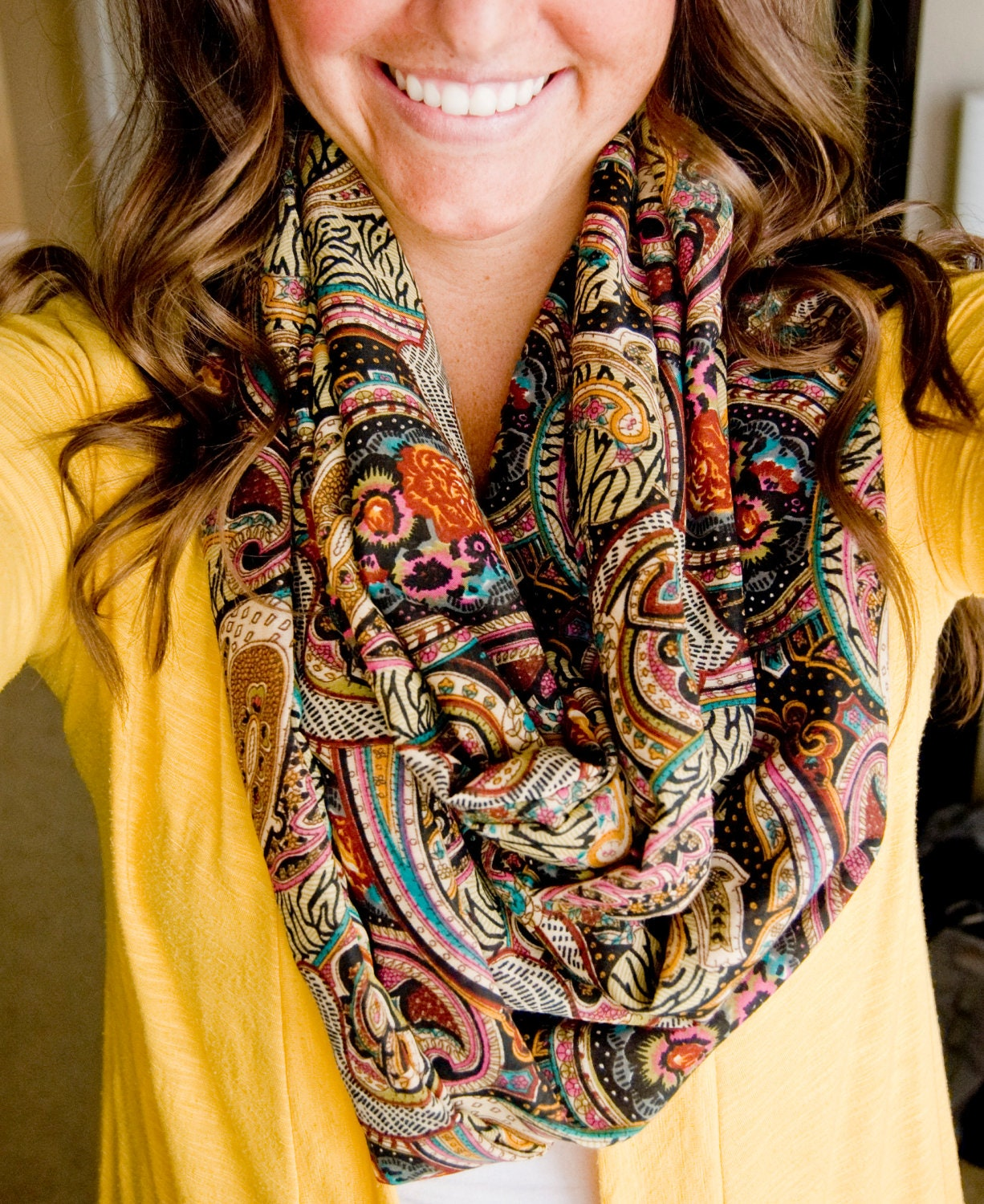 Classy Paisley Blend Infinity Scarf