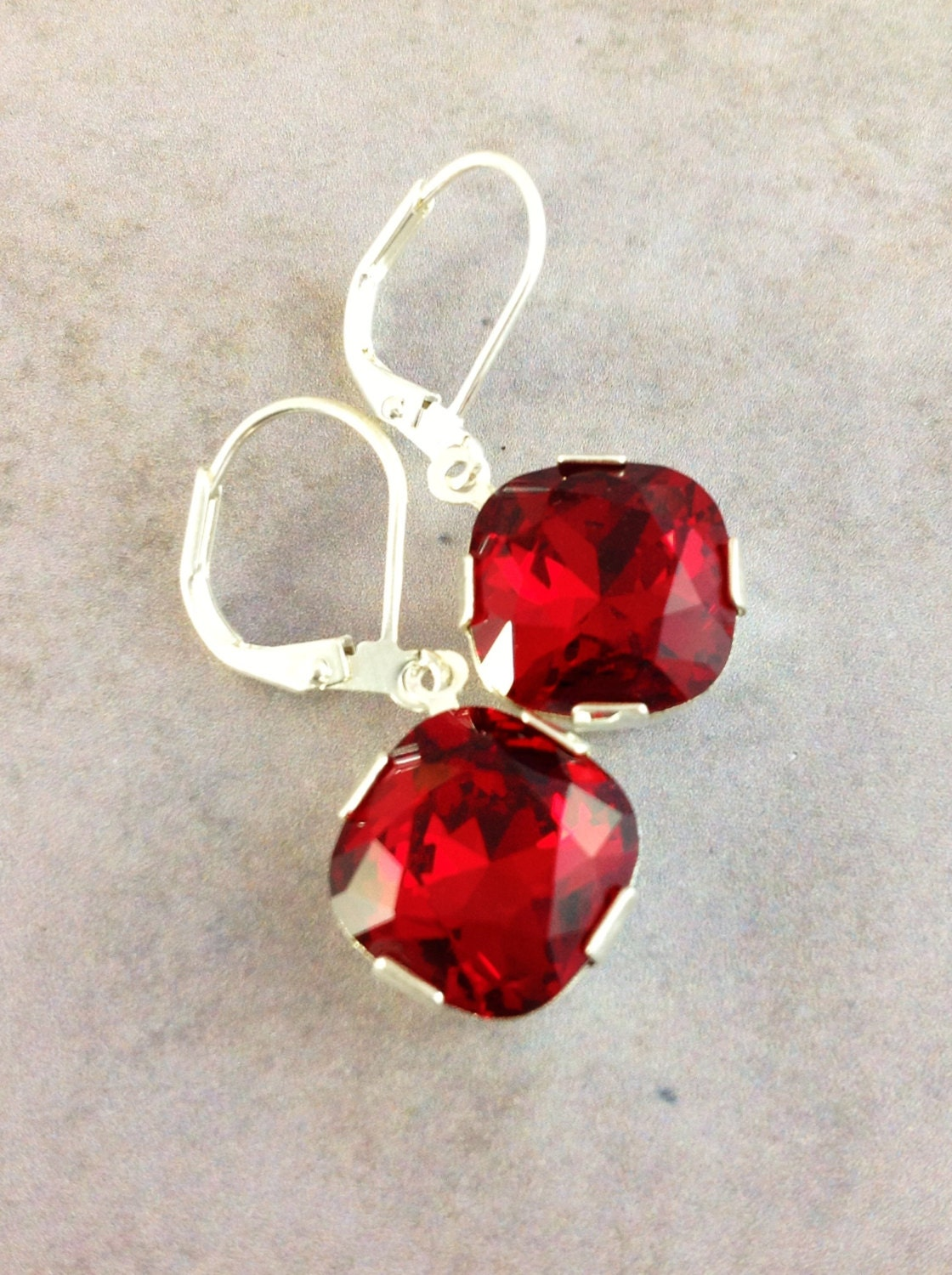 Red crystal earrings. Silver drop earrings. Leverback earrings. Classic ruby red earrings. Siam Swarovski crystal. Square earrings. Faceted. - GemsByKelley