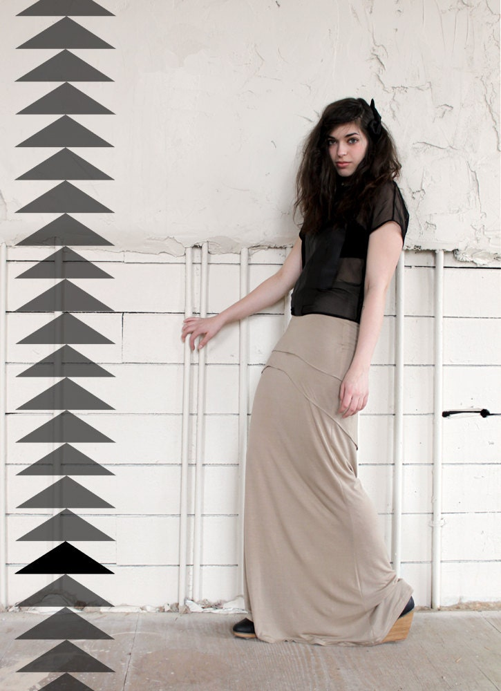High Waisted Maxi Skirt - tan bamboo jersey with tiered modern asymmetrical hem - small and custom sizing available - murmuration