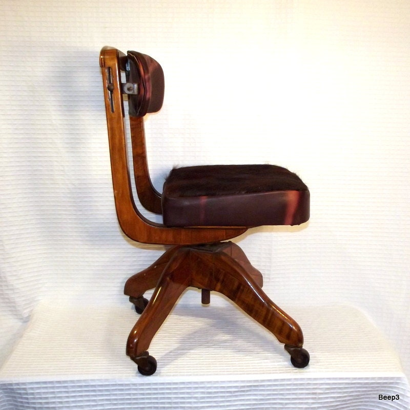 leather antique wood office chair leather antique. Polygraph Chair Antique Deco Upcycled Wood And Leather Office By