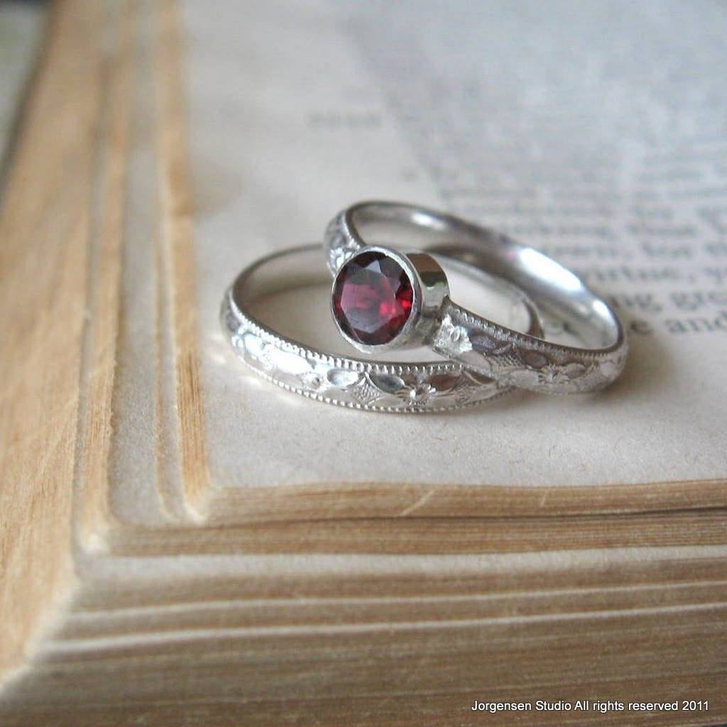 garnet gemstone promise stacking ring bright by