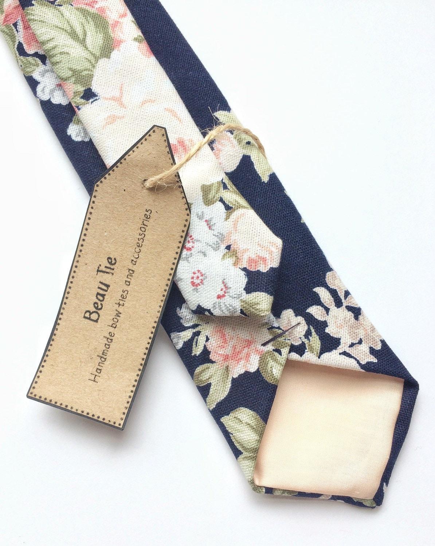 Floral tie navy blue skinny tie blush pink floral tie mens skinny tie wedding tie mens floral tie