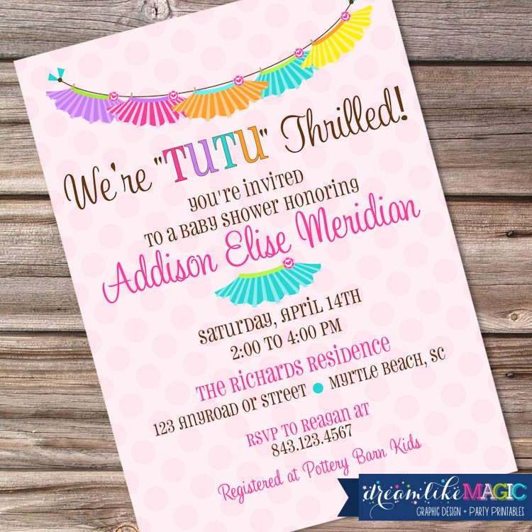 baby shower invitation with tutus pink polkadots baby girl tutu