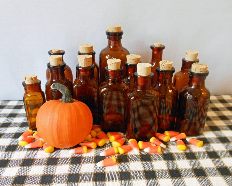 Vintage amber bottles, Halloween decor, Halloween party favor, Vintage Halloween