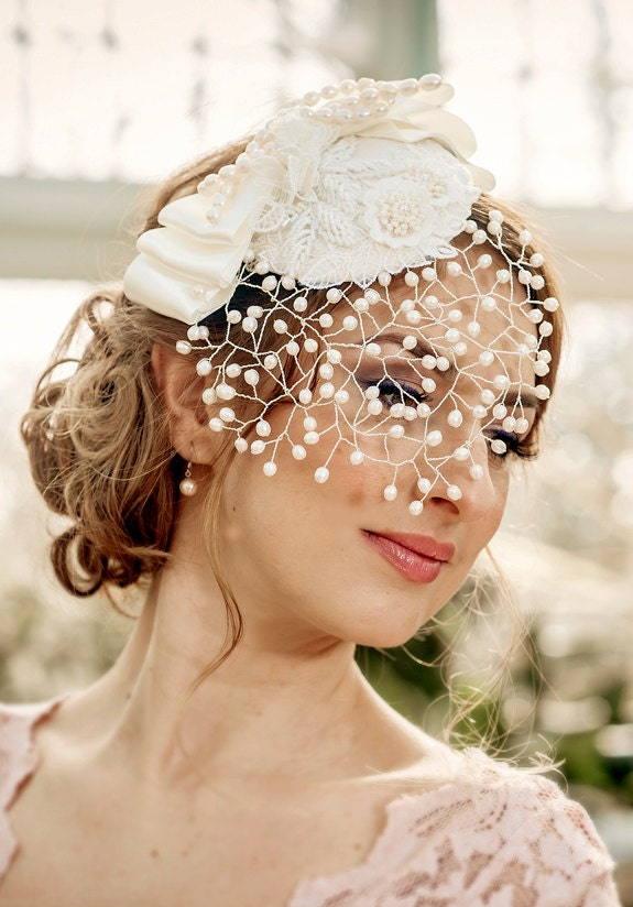 Bridal Veil MARGO  detachable Pearl Birdcage Veil with mini hat fresh water pearls lace applique and bow made to order