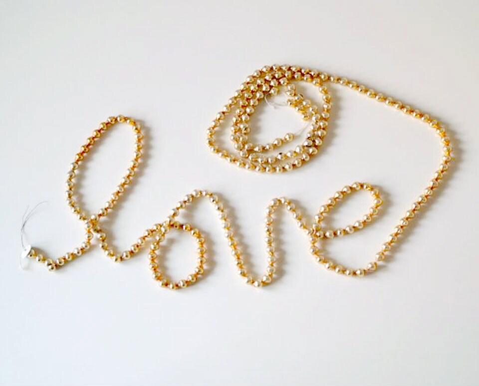 vintage gold glass bead garland garland 1950s by 5gardenias