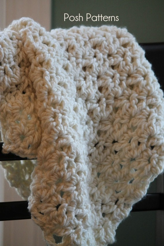 Crochet Patterns For Baby Washcloths : Crochet PATTERN Baby Blanket Wrap Photo Prop by PoshPatterns