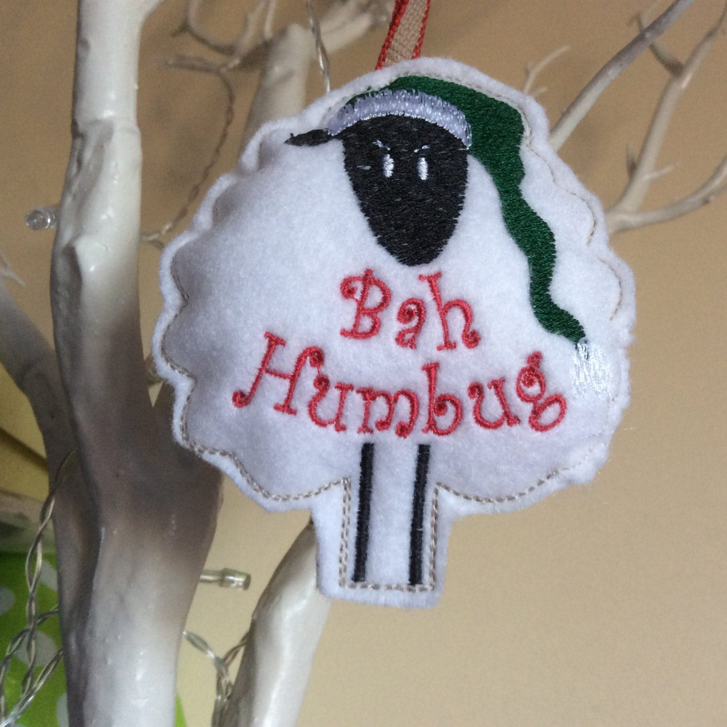 Bah Humbug cute sheep tree decoration Handmade Sheep tree ornament  Felt Christmas tree bauble