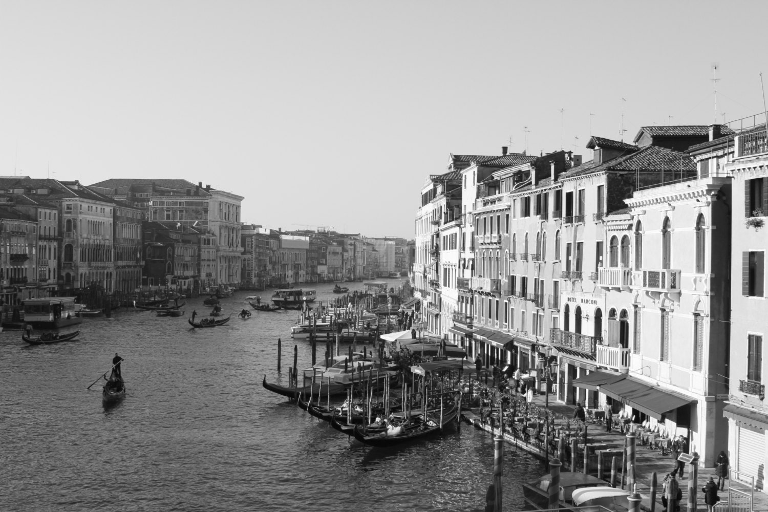 "Venice, Italy.  Canal view from Rialto Bridge, Landscape Photography, Fine Art Photography, Black & White Photography, 8""X12"" - M3WanderlustPrints"
