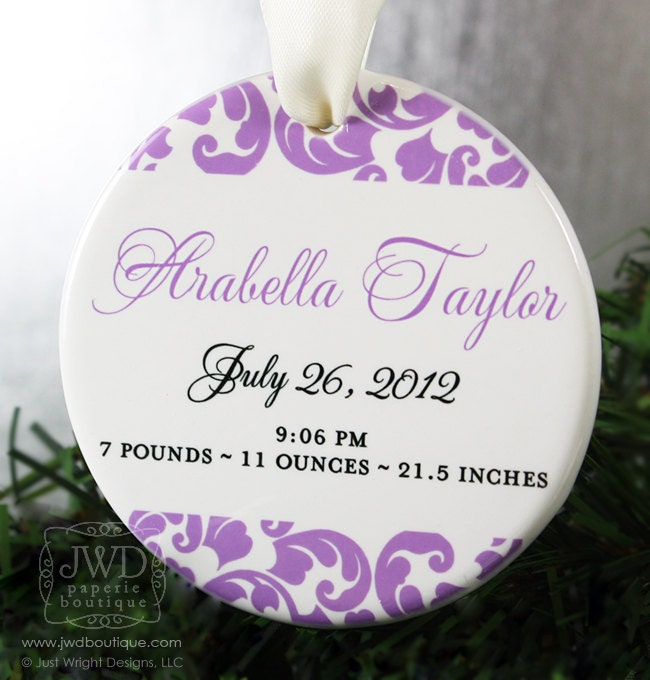 Birth Announcement Ornament Babys First Christmas Ornament Personalized Baby Girl New Birth Ornament r - Kirkland Pattern