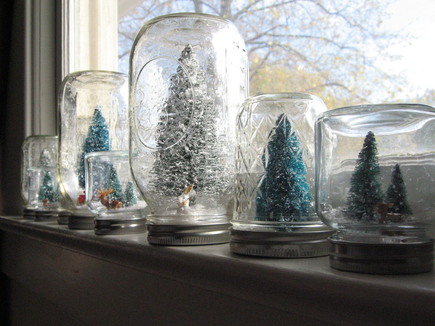 Mason Jar Snow Globe Vintage Inspired Christmas Tree and Rabbit Large - Artlets