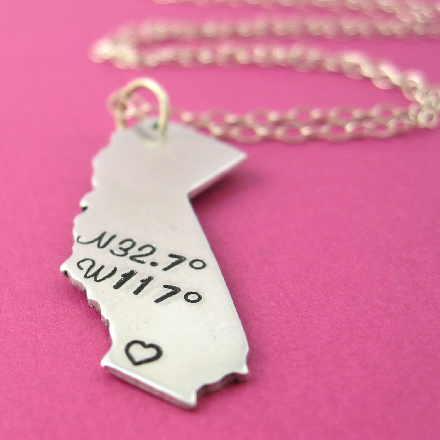 Personalized State Necklace Latitude and Longitude Coordinates Necklace - Custom State Necklace