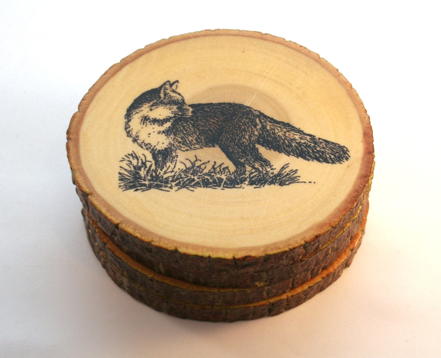 Items similar to handmade wooden fox looking back coasters for Handmade drink coasters