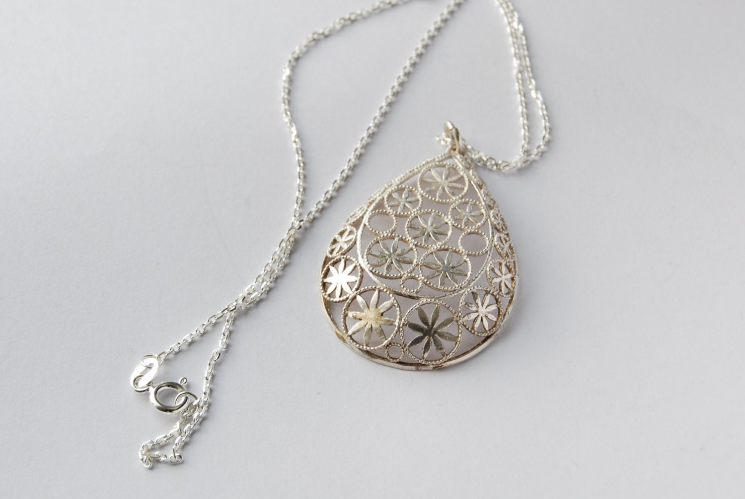 Silver filigree  pendant with silver chain - Crowsdream
