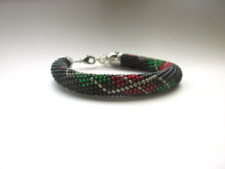 Bracelet  Bead Crochet Bracelet  Bangle  BlackredGreenOld Gold  Beadwork  Seed Beads  Argyle Pattern