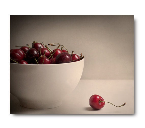 Cherries Photo, Kitchen Art, food artwork, food photography, print, cream,  red, home decor, fruit still life, bowl of cherries - semisweetstudios