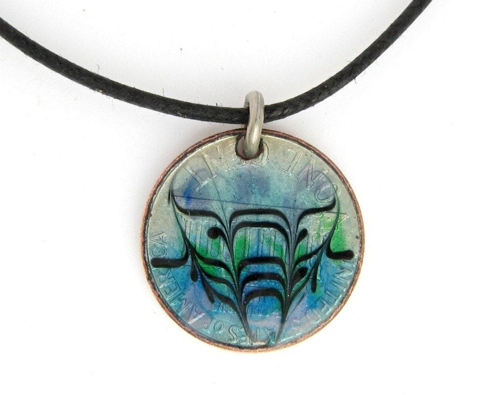 Blue Enamel 1975 Penny Pendant